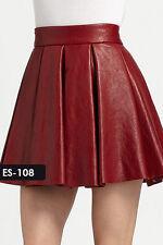 Genuine Soft Lambskin Leather Mini Box Pleated Skirt