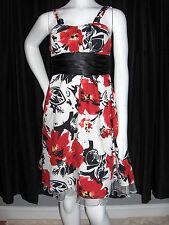 SNAP WOMENS SIZE 5 DRESS BLACK RED WHITE LACE HEM SUNDRESS NEW
