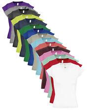 Damen Einfache Baumwolle Kurzärmlig Vee Hals V-Ausschnitt T-Shirt Top