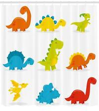 Dinosaur Pattern Shower Curtain Fabric Decor Set with Hooks 4 Sizes