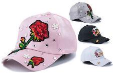Damen Cappy Cap Kappe Mütze Frauen Glitzer Rosen Blumen NY runder Schirm NEU