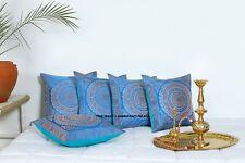"Indian Blue Mandala Silk Brocade Pillow Cushion Cover Sofa Throw Home Decor 16"""