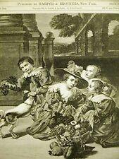 Franz Hals DUTCH CHILDREN FRUIT BASKET DOG 1889 Antique Art Print Matted
