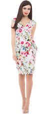 Voodoo Vixen vera vintage retro floral rosas Pencil dress vestido rockabilly