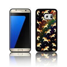 """""""Unicornio"""" Funda de silicona para Samsung Galaxy S5 S6 S7 Cubierta De Corazones Caballo Negro"""