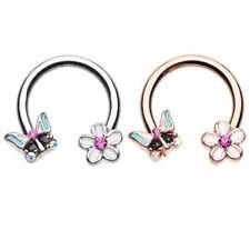Butterfly Flower Horseshoe Ring Circular Barbell Septum Piercing Jewelry 16G/14G