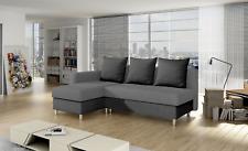 Corner Sofa Bed Plain Grey Brown Right Left Scatter Back Storage Metal Legs