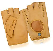 Half Finger Driving Motorbike Gloves Chauffeur Vintage Fashion Genuine Leather
