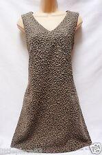 BNWT NEXT New Ladie Brown Beige Textured Shift Tailored stretch work dress party