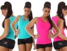 Trägertop Tanktop Blusentop Spitze Top Bluse Shirt Stretchtop T-Shirt Neon 38-42