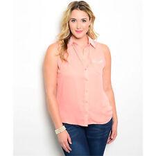 Women's Top Peach with Pearl Detail Plus Size Women's Zenobia US Brand