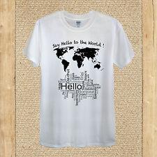 Hola Mundo T-Shirt idioma viaje feliz tierra nación Diseño Hombre Mujer Ajustada