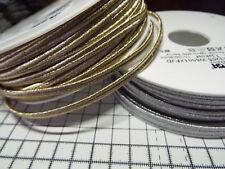 1 m - Soft Soutache Cord Silver or Pale Gold Metallic  - width 5mm