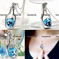 Unique Bottle Heart Crystal Diamond Necklace Birthday Gift Best Friend Message