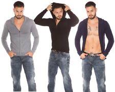 Cardigan uomo basic maglione elastico manica lunga cappuccio pullover zip nuovo