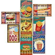 Retro Metal Tin Signs Fast Food Hamburgers Plate American Food Art Wall Decor