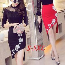 Plus Size Women Asymmetric Pencil Skirt Flower High Waist Bodycon Party Office