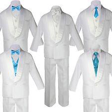 Baby Teen White Satin Shawl Lapel Suits Tuxedo AQUA BLUE Satin Bow Necktie Vest