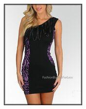 Gioia Purple Clubwear One Shoulder Exotic Zebra Print Fringe mini Dress S M L