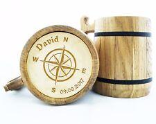 Personalized Compass Wood Beer Mug Gift. Compass Rose Beer Mugs. Wooden Mug K71