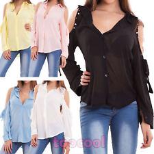 Camicia donna maglia velata spalle scoperte fiocco perline borchie nuova CJ-2498