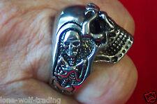 """""""Large"""" Stainless Steel Skull Ring -Men's Size's 9 -18 & 20 -SR4048-J"""
