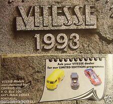 MINI CATALOGUE VITESSE 1993 COX COMBI FIAT 2CV DS AUSTIN PORCHE FERRARI LANCIA