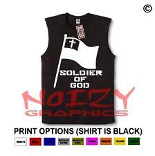 Soldier of God Christian SLEEVELESS Shirt Jesus Religious Muscle Tee Cross Flag