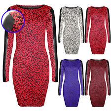 NEW LADIES BLACK PU SLEEVE LEOPARD PRINT DRESS WOMENS BODYCON SLIM LOOK LONG TOP