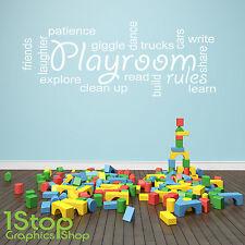salle de jeux règles CITATION Autocollant Mural - chambre d'enfant Nurserie