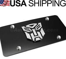 1 - BRAND NEW 3D Transformers Logo VANITY BLACK STEEL LICENSE PLATE AUTOBOT 4