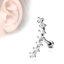 "1 PIECE 16g 1/4"" Tragus Helix Cartilage Barbell 7 Round CZ Gem Earring #2"