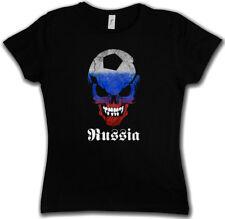 Russia Russian FOOTBALL SOCCER Skull Flag Donna T-Shirt Fan punkhooligan Soviet