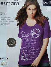 Damen Shirt Plus Size L XL XXL 44 46 48 50 52 54 Übergöße T-Shirt Stretch NEU