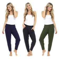 Ladies Cotton Viscose Harem Pants Elasticated Waist Summer Trouser10 12 14 16 18