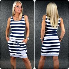 ZAZOU Sommerkleid Jerseykleid XS S M streifen Maritim Kleid Marine Look Z151