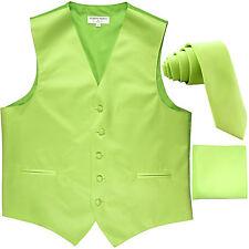 "New Men's lime green formal vest Tuxedo Waistcoat_2.5"" necktie & hankie wedding"