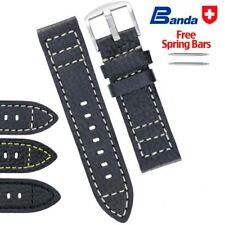 Banda Premium Grade Calfskin Buffalo Grain Leather Watch Bands, Sizes 18-24mm