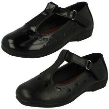 Niñas En El Clavo Negro Barra T CIERRE ADHESIVO Zapatos Color Piel Sintética &