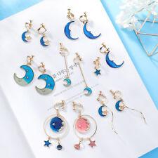 Fashion Gold Plated Enemel Moon Star Cat Eye's Stone Pearl Tassel ClipOn Earring
