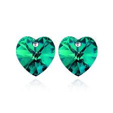 wunderschön Mädchen Damen dunkles grün oder Kristall Smaragd Ohrstecker Herzen