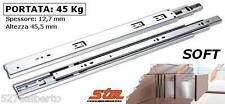 Guide Scorrevoli AMMORTIZZATE SOFT per CASSETTI Portata 45 kg Estrazione Totale