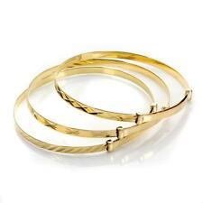 9ct Gold Expandable Baby / Kids Bangle - Diamond Cut Styles
