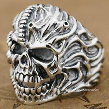 925 Sterling Silver Skull Ring Mens Biker Punk Gothic Rings 9G012B UK N½~Z4