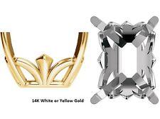6x4mm - 12x10mm Emerald Shape Fleur-De-Lis 14K Gold Head Setting Made In USA