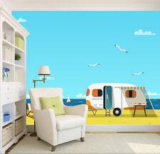 3D Cartoon seaside car ferry Wall Paper Wall Print Decal Wall AJ WALLPAPER CA