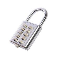 10 Digit Steel Shackle Combination Security Lock Number Code Padlock - 70 x 38mm