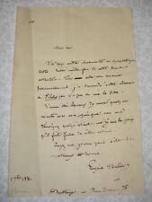 LETTRE AUTOGRAPHE Eugène Muller écrivain Francais XIXe
