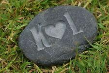 Initials & heart, hand carved Cornish love stone, ideal Wedding Anniversary Gift
