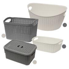JVL Modern Knit Design Loop Plastic Linen Storage Baskets, Grey or White